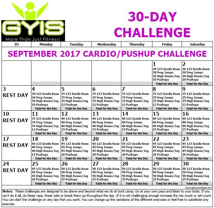 30 Day Challenge Cardio Pushups Sept17
